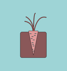 Flat icon design collection turnips in the ground vector