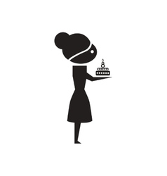 Flat icon in black and white girl with cake vector