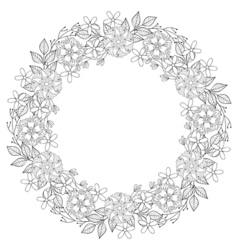 Floral zentangle doodles wreath in ornamental vector