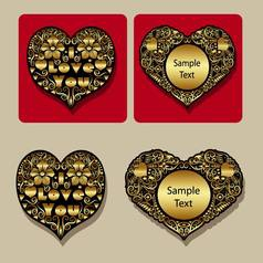 Golden heart floral ornament icons vector