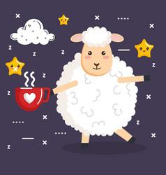 Good night sleep cartoon sheep with coffee cup vector