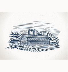 Graphic landscape with farm and field vector