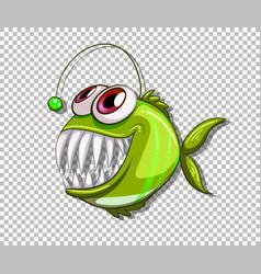 Green angler fish cartoon character on vector