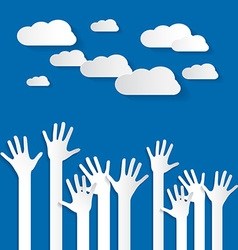 Hands - Paper Cut Palm Hands Set on Blue Sky vector image