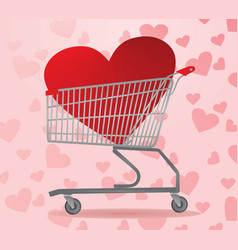 heart inside shopping cart vector image