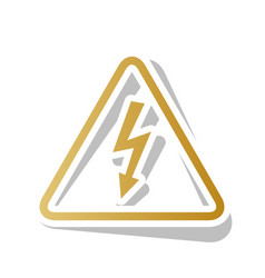 high voltage danger sign golden gradient vector image