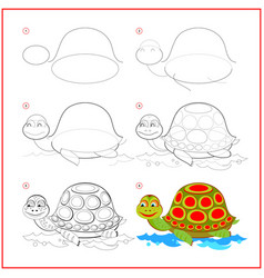 How to draw cute toy turtle educational page vector