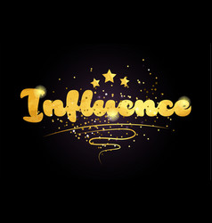 Influence star golden color word text logo icon vector