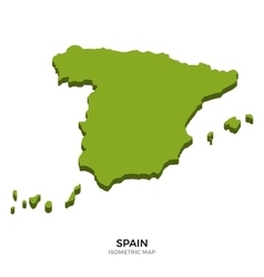 Isometric map of Spain detailed vector image