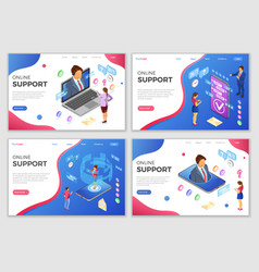 isometric online customer support templates vector image