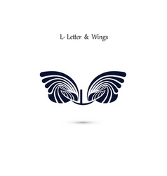 l letter sign and angel wings monogram wing logo vector image