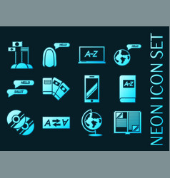 Languages education set icons blue neon style vector