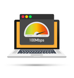 Laptop with speed test on screen vector
