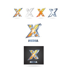 Letter x logo 3d icon vector image