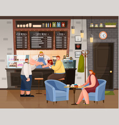 man and woman sitting with coffee in cafe vector image