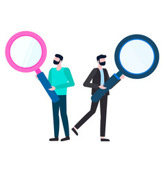 Man character holding magnifier isolated analytics vector