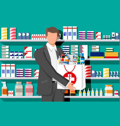 Man holding drugstore bag in front pharmacy vector