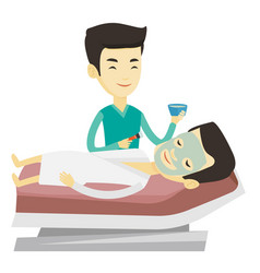 man in beauty salon during cosmetology procedure vector image