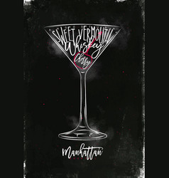 Manhattan cocktail chalk color vector