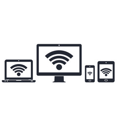 modern digital devices with wifi internet symbol vector image