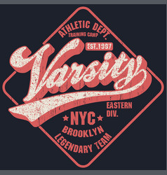 new york varsity sport wear typography emblem t vector image