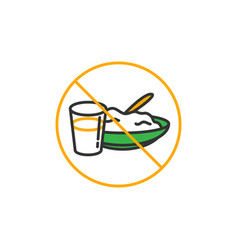 No eat and drink for fasting symbol simple vector
