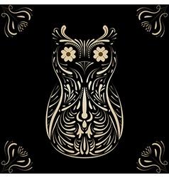 Owl on black background vector