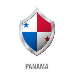 Panama flag on metal shiny shield vector