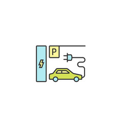 parking charge station icon outline linear vector image