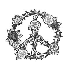 Peace symbol rose flower sketch vector