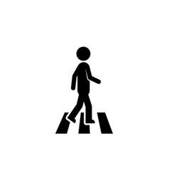 Pedestrian icon like black stick figure vector