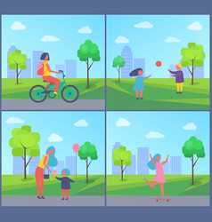 people playing in park cartoon isolated badge vector image