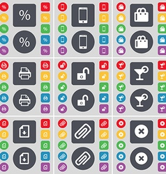 Percent Smartphone Shopping bag Printer Lock vector