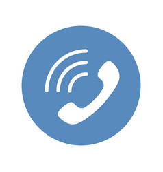 Phone icon handset with waves as phone call sign vector