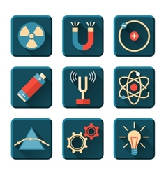 Physics icons in flat design style vector image