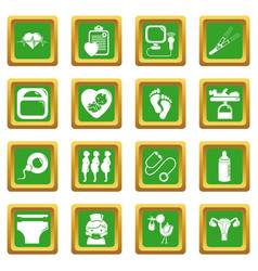 Pregnancy icons set green square vector