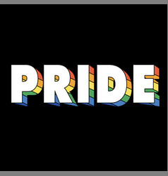 pride rainbow text black background image vector image