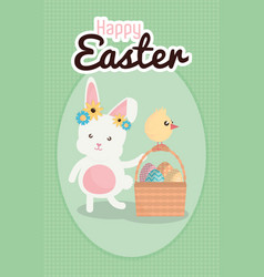 rabbit and chick with easter eggs painted in vector image