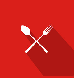 Restaurant flat icon with red background vector