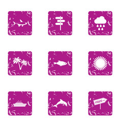 Sea walk icons set grunge style vector