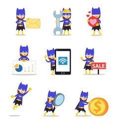 Set character bat woman in halloween comic vector