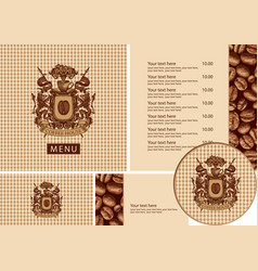 set design elements for coffee house with menu vector image
