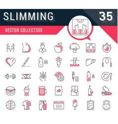 Set flat line icons slimming vector