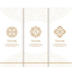 Set of luxury golden emblems vintage elements vector