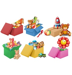 Six boxes of toys vector