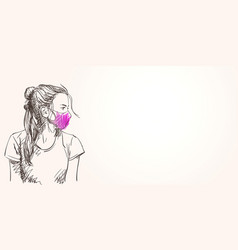 sketch teenage girl portrait in purple vector image