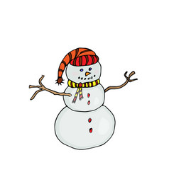 Snow man colored on white vector