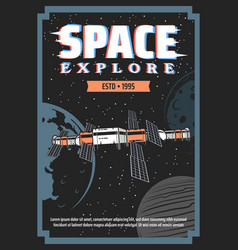 Space exploration station and planets retro poster vector