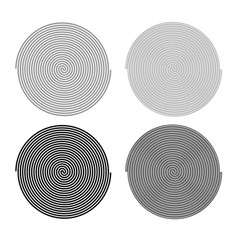 spiral icon outline set grey black color vector image