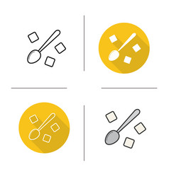 Spoon with refined sugar cubes icon vector